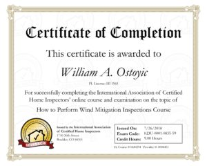 Wind Mitigation Certificate